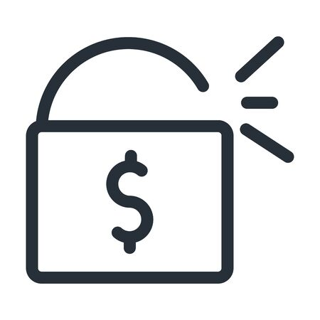 dollar inside padlock line style icon of money financial banking commerce and market theme Vector illustration