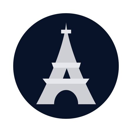 france eiffel tower block and flat style icon design, Bastille day and french theme Vector illustration Illustration