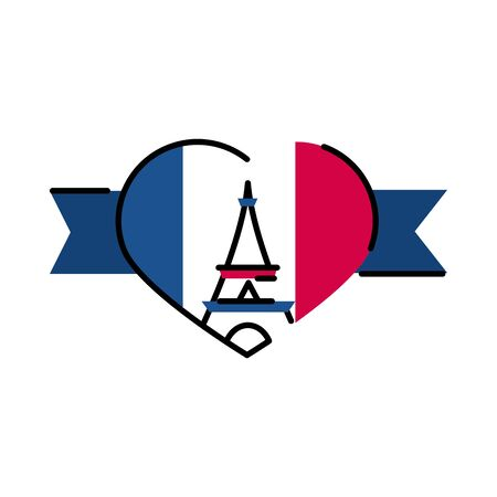france eiffel tower inside heart line and fill style icon design, Bastille day and french theme Vector illustration Illustration