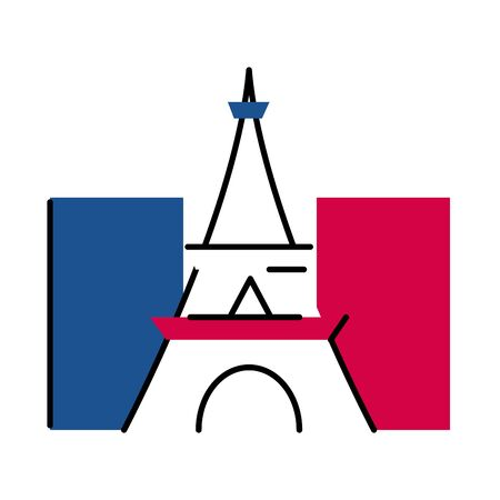 france eiffel tower line and fill style icon design, Bastille day and french theme Vector illustration