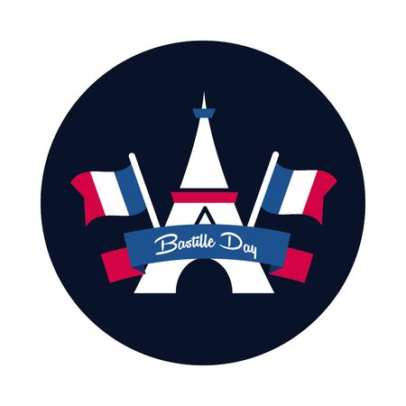 france eiffel tower with flags block and flat style icon design, Bastille day and french theme Vector illustration