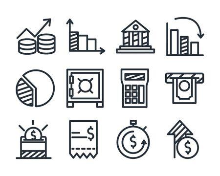 diseño de conjunto de iconos de estilo de línea, finanzas económicas y tema de dinero ilustración vectorial