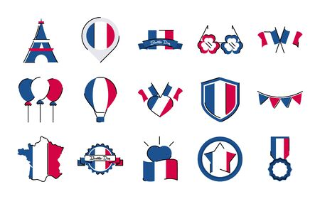 France and bastille day line and fill style icon set vector design