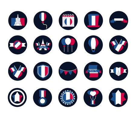 France and bastille day block and flat style icon set vector design Illustration