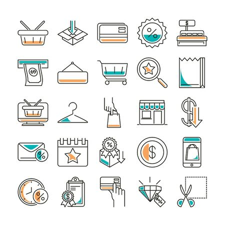 Shopping line style icon set vector design