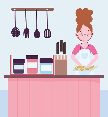 people cooking, woman with baked food counter cutlery knives in kitchen Ilustração