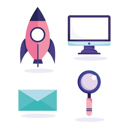 online education, computer magnifying glass mail rocket icons