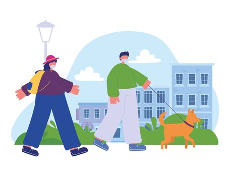 boy with dog and girl with backpack walking in the street Illusztráció