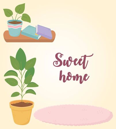 sweet home wooden shelf potted plants books and carpet 向量圖像
