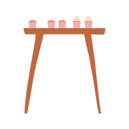 wooden table with cupcakes baked isolated icon design