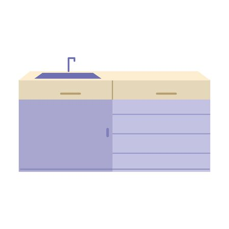 kitchen sink and drawers isolated icon design