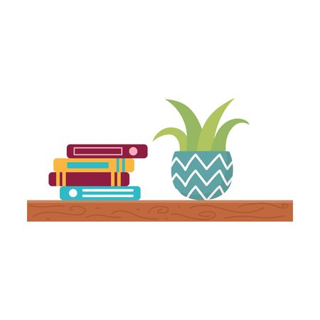 shelf with stack of books and potted plant isolated icon design
