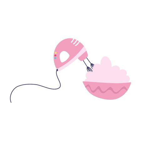 electric mixer with cream in bowl food isolated icon design Ilustração