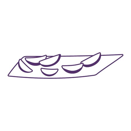 sliced food on tray cooking isolated icon design