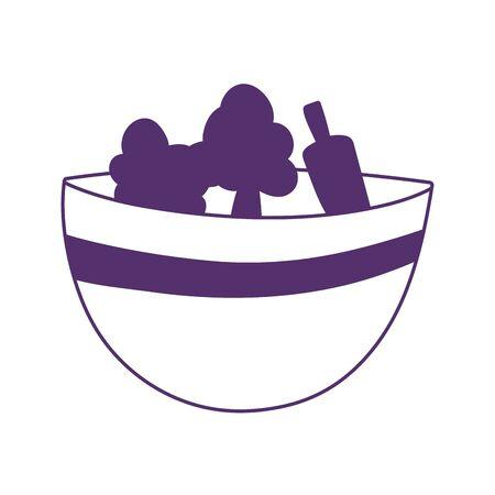 vegetables fresh in bowl kitchen isolated icon design Ilustração