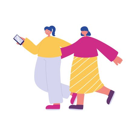 two young woman hugging with smartphone walking 일러스트