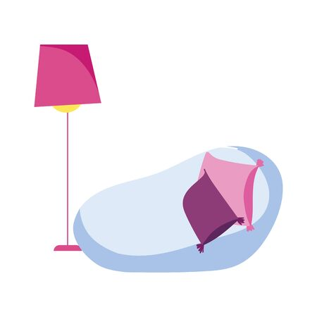 chair cushions and floor lamp decoration isolated icon design