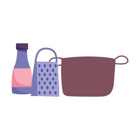 pot grater sauce bottle and kitchen utensils cooking Ilustracja
