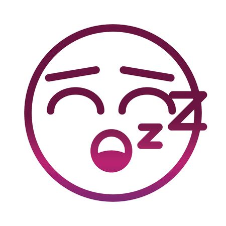 sleeping funny smiley emoticon face expression gradient style icon Illustration