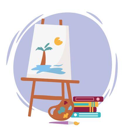 art canvas with tropical palm sun sea landscape design books brush and palette color Ilustração