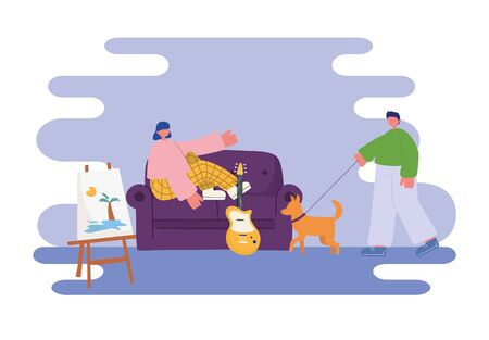 people activities, young woman sitting on sofa and man with dog in the room