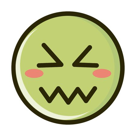 confounded funny smiley emoticon face expression line and fill icon