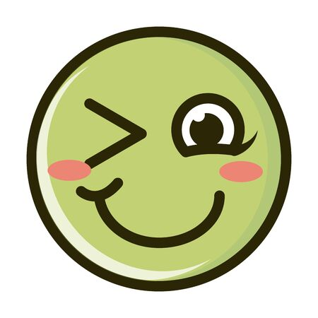 blush wink funny smiley emoticon face expression line and fill icon