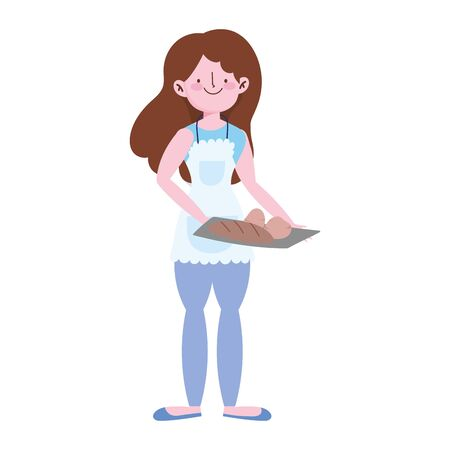 young woman with bread baked in tray isolated icon design