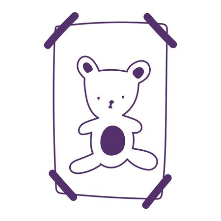 drawing teddy bear on paper with tape adhesive isolated icon design