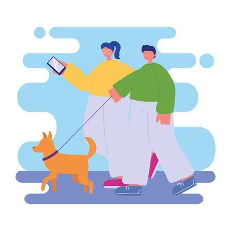 people activities, young couple with smartphone and dog walking Ilustrace