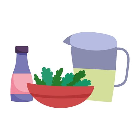 juice jar bowl with vegetables and sauce bottle cooking vector illustration