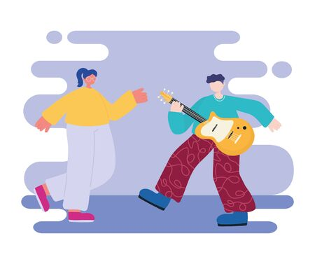 people activities, young man playing guitar musical instrument and woman dancing characters