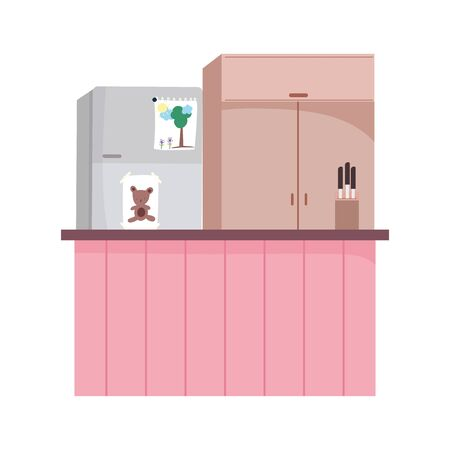 kitchen interior fridge furniture cupboard counter and knives