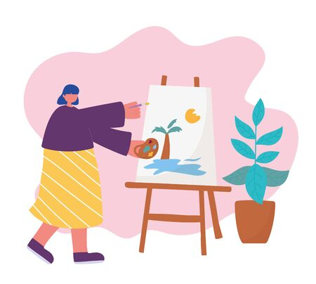 people activities, woman artist drawing on canvas holding palette color in hand and brush Ilustração