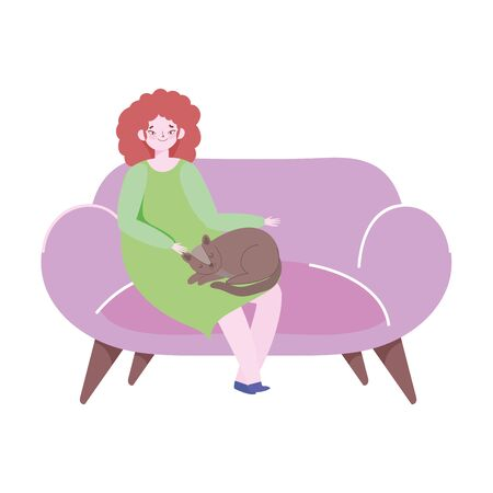 young woman with cat sitting on sofa isolated icon design