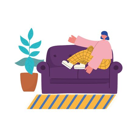 people activities, young woman sitting on sofa plant in pot and carpet decoration