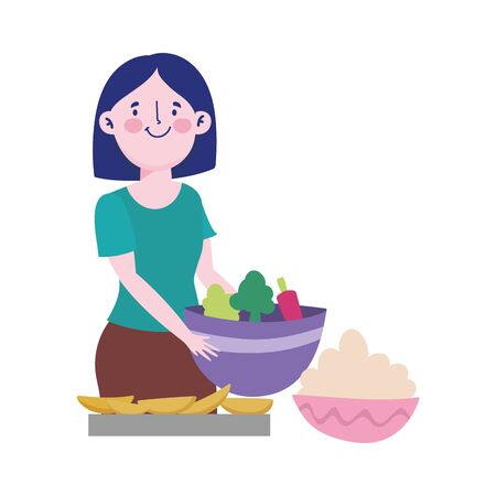 people cooking, woman with vegetable bowl dessert and cream vector illustration