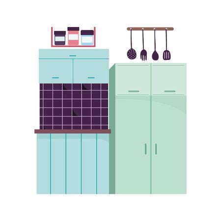 kitchen interior fridge utensils tile clock and food clock design vector illustration Çizim