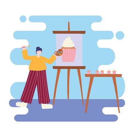 people activities, woman artist drawing on canvas cupcake and holding palette color and brush