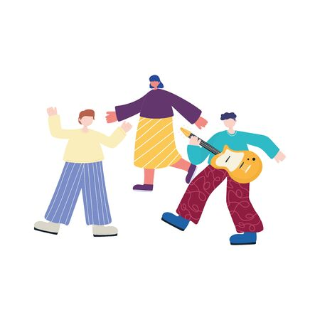 people activities, young man playing guitar musical and people dancing vector illustration 일러스트
