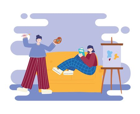 people activities, woman artist drawing on canvas holding palette color and girl reading book on sofa Ilustração