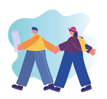 people activities, young couple walking with map and backpack vector illustration Ilustrace