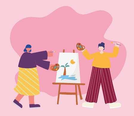 people activities, women artist drawing on canvas holding palette color in hand and brush vector illustration