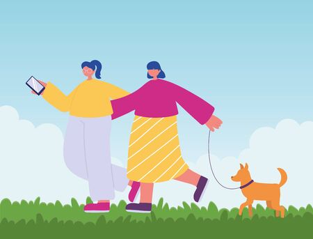 people activities, young women walking with dog and smartphone vector illustration