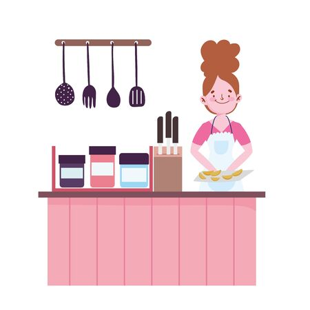 people cooking, woman with baked food counter cutlery knives in kitchen Ilustracja