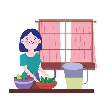people cooking, woman with juice jar vegetables in bowl counter kitchen vector illustration Ilustracja
