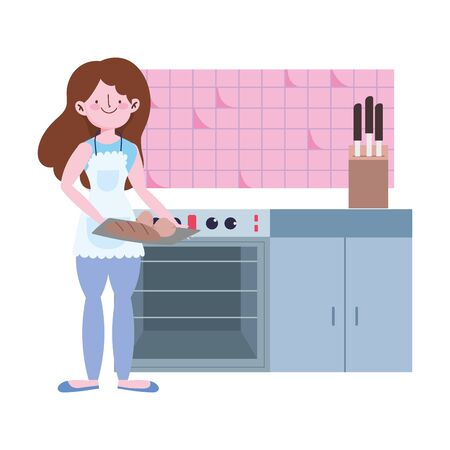 people cooking, girl with bread in hands in the kitchen vector illustration Ilustracja