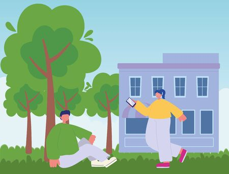 people activities, girl with smartphone and boy sitting on grass outdoor vector illustration