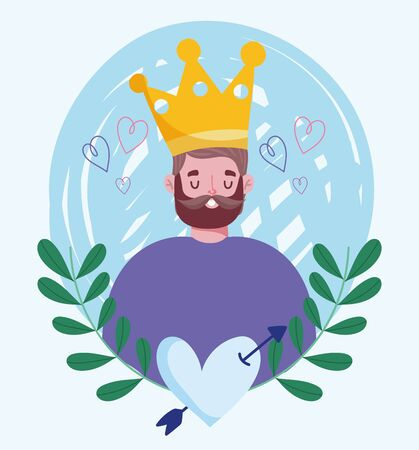 happy fathers day, young man with crown heart love foliage vector illustration
