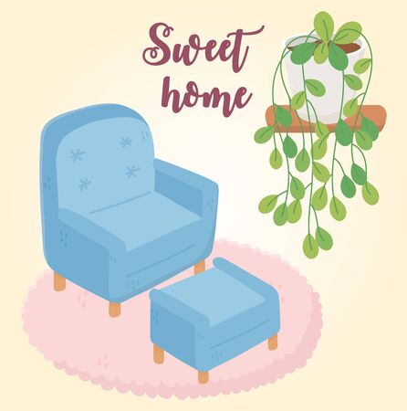 sweet home armchair footrest potted plant on shelf vector illustration